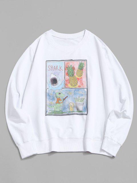 Ananas Haifisch Dinosaurier Grafik Sweatshirt - Weiß S Mobile