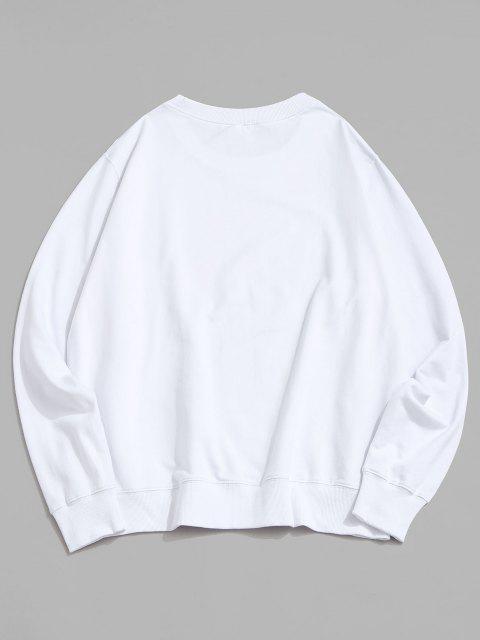 Ananas Haifisch Dinosaurier Grafik Sweatshirt - Weiß XL Mobile
