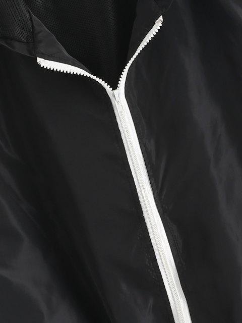 women's Hooded Side Striped Mesh Lining Windbreaker Jacket - BLACK L Mobile