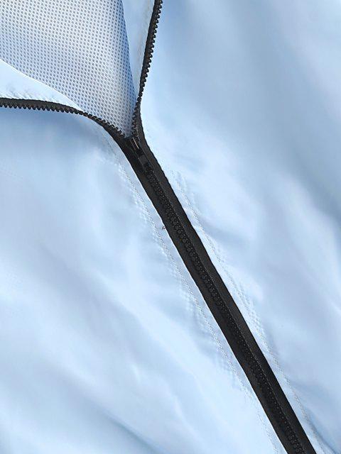 Kapuze Seitliche Streifen Maschen Futter Windjacke - Hellblau S Mobile