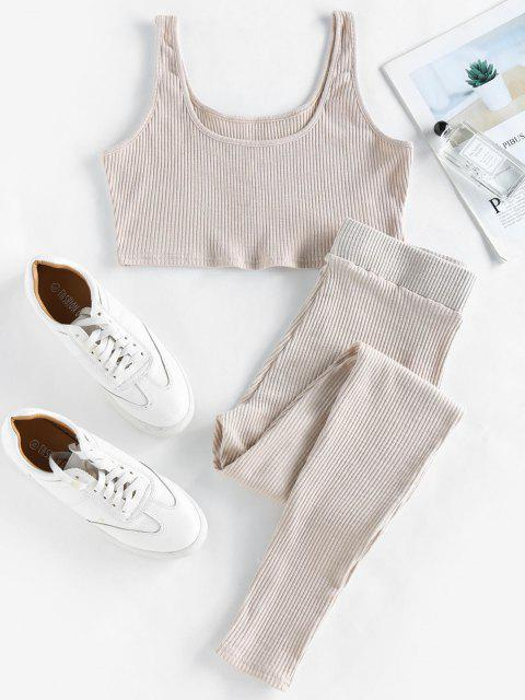womens ZAFUL Rib Knit Fitted Two Piece Set - LIGHT COFFEE L Mobile
