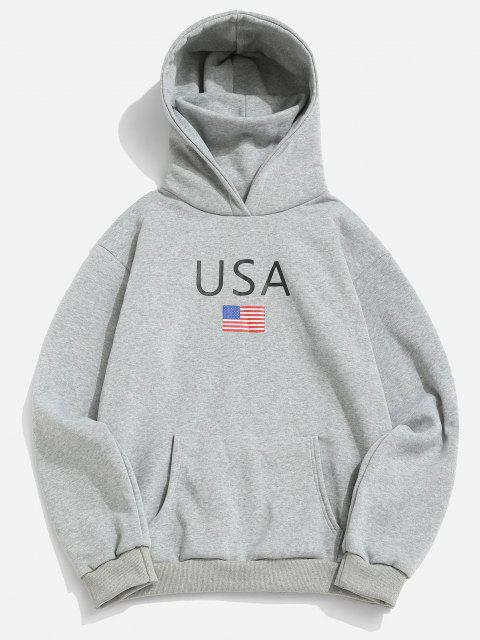 unique American Flag USA Print Fleece Hoodie With Face Warmer - LIGHT GRAY L Mobile