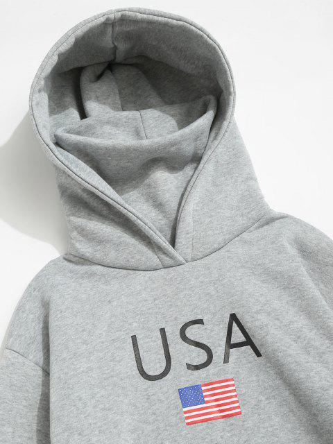trendy American Flag USA Print Fleece Hoodie With Face Warmer - LIGHT GRAY XL Mobile