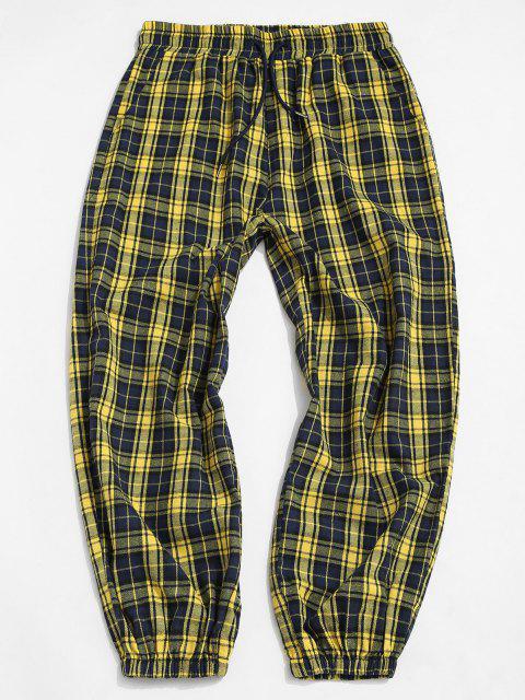 shop Plaid Pattern Casual Elastic Cuff Pants - YELLOW 2XL Mobile