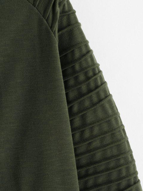 hot Kangaroo Pocket Stitching Detail Zip Up Hoodie - ARMY GREEN 2XL Mobile