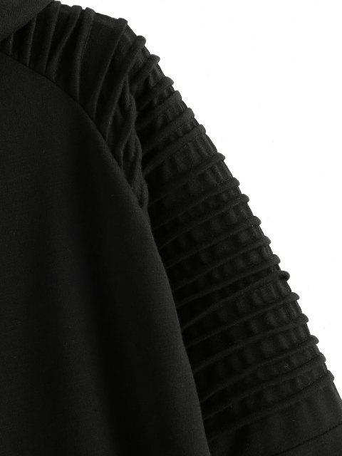 lady Kangaroo Pocket Stitching Detail Zip Up Hoodie - BLACK 2XL Mobile