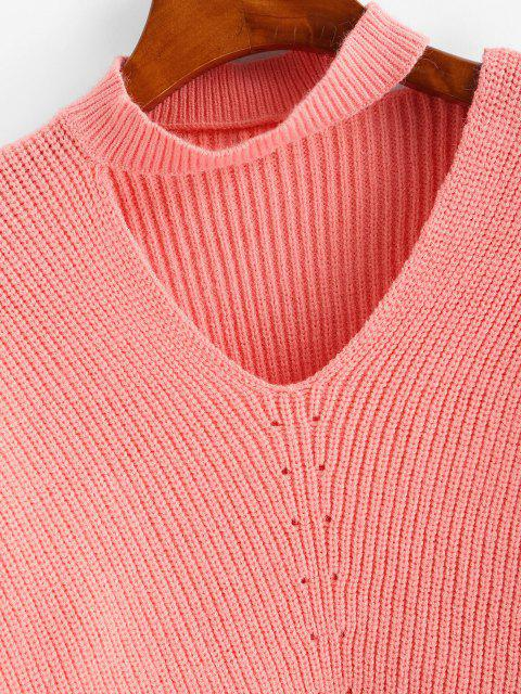 outfit Drop Shoulder Choker Pointelle Knit Sweater - LIGHT PINK ONE SIZE Mobile