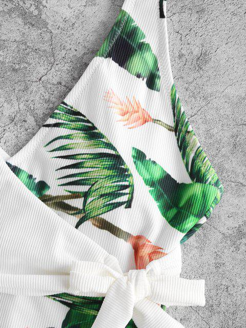 outfits ZAFUL Ribbed Tropical Print Overlap One-piece Swimsuit - WHITE L Mobile