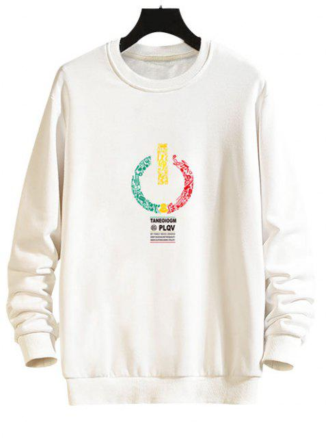 fancy Music Switch Power Graphic Drop Shoulder Casual Sweatshirt - WHITE 2XL Mobile