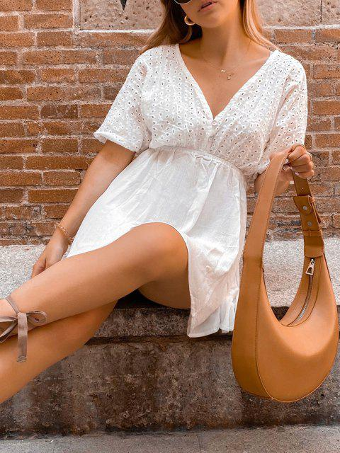 fashion ZAFUL Eyelet Batwing Sleeve Plunging Mini Dress - MILK WHITE S Mobile