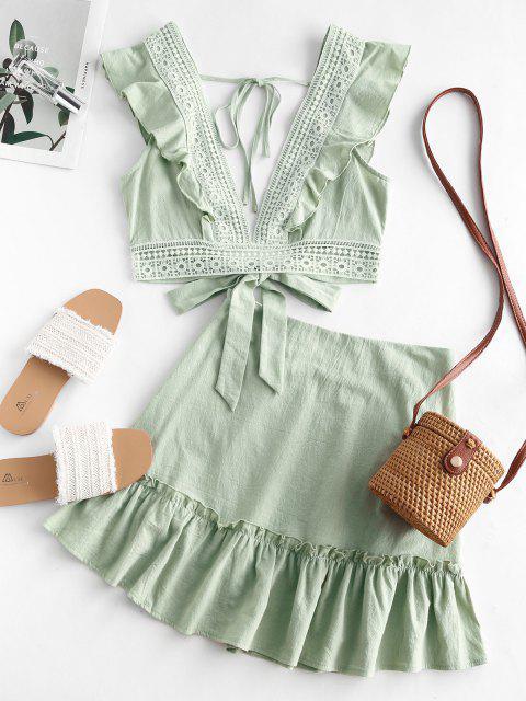 Rüschen Crochet Panel Zweiteiliges Kleid mit Schnürung - Grün L Mobile