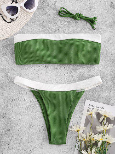 buy ZAFUL Bicolor Ribbed Tanga Bikini Swimwear - DEEP GREEN L Mobile