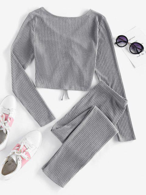 chic ZAFUL Ribbed Cinched High Waisted Skinny Pants Set - ASH GRAY XL Mobile