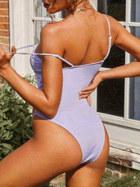 online ZAFUL Ribbed Cutout High Leg One-piece Swimsuit - LIGHT PURPLE S Mobile