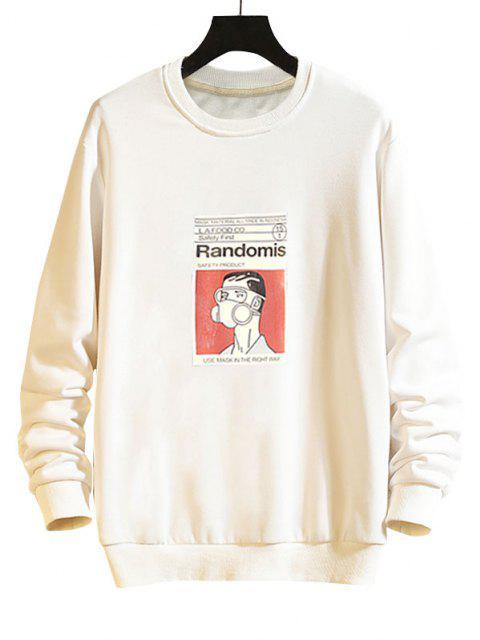 Sweat-shirt Décontracté Graphique Homme à Goutte Epaule - Blanc 2XL Mobile
