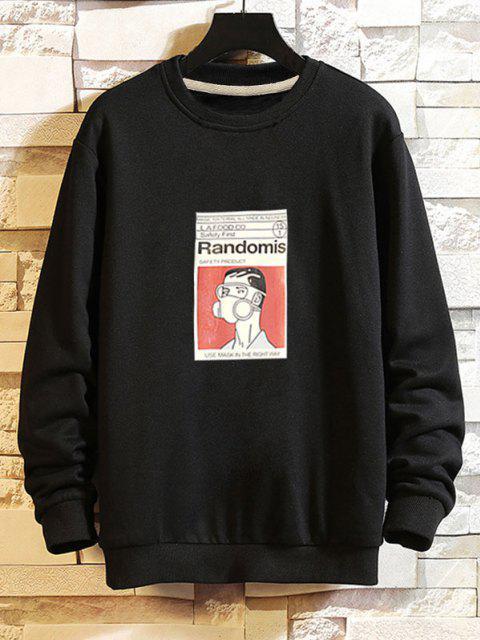 Sweat-shirt Décontracté Graphique Homme à Goutte Epaule - Noir XS Mobile