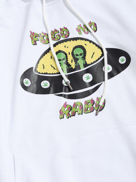 Sweat à Capuche Extraterrestre Graphique avec Poche Kangourou à Cordon - Blanc XL Mobile