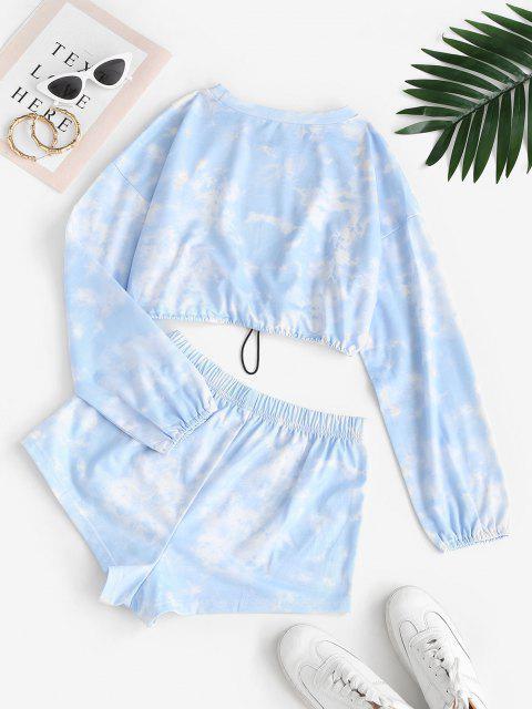shops Tie Dye Toggle Drawstring Two Piece Shorts Set - LIGHT BLUE S Mobile
