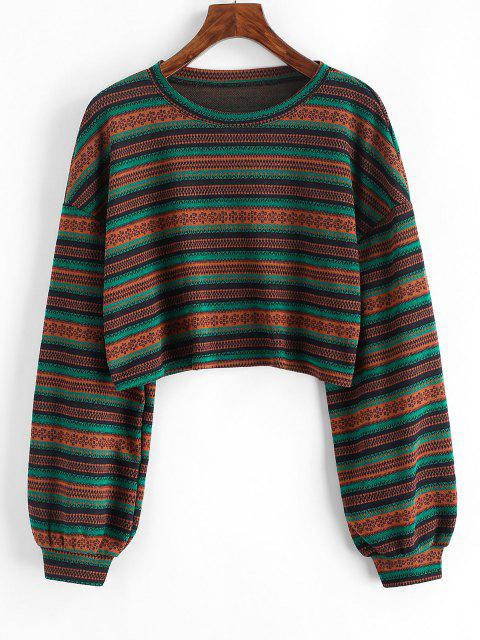 Jersey Tejido Corta Abotonada Étnico - Multicolor L Mobile