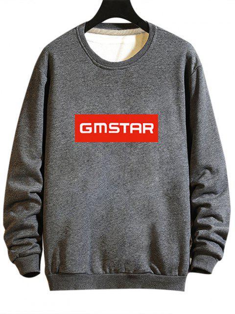 Buchstabe Druck Rippen Strick Trimm Sweatshirt - Grau XL Mobile