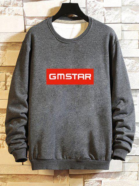 buy Letter Printed Rib-knit Trim Sweatshirt - GRAY L Mobile
