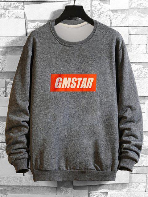buy Letter  Graphic Drop Shoulder Lounge Sweatshirt - GRAY XL Mobile
