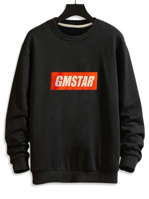 women Letter  Graphic Drop Shoulder Lounge Sweatshirt - BLACK 2XL Mobile