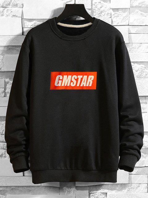 women Letter  Graphic Drop Shoulder Lounge Sweatshirt - BLACK M Mobile