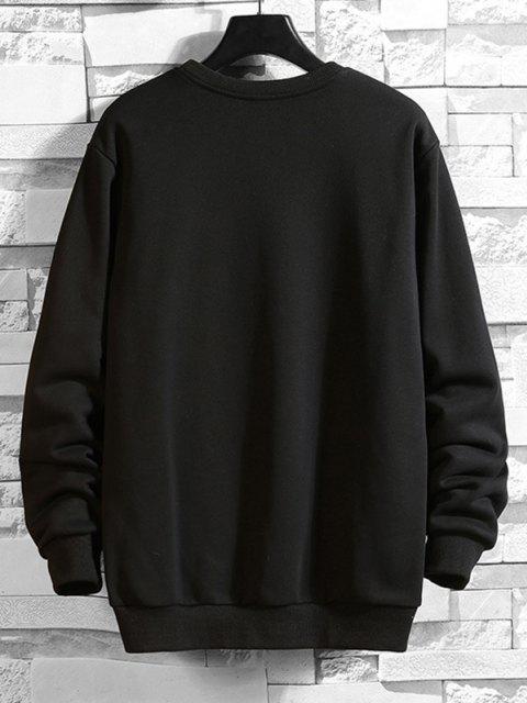sale Letter  Graphic Drop Shoulder Lounge Sweatshirt - BLACK S Mobile