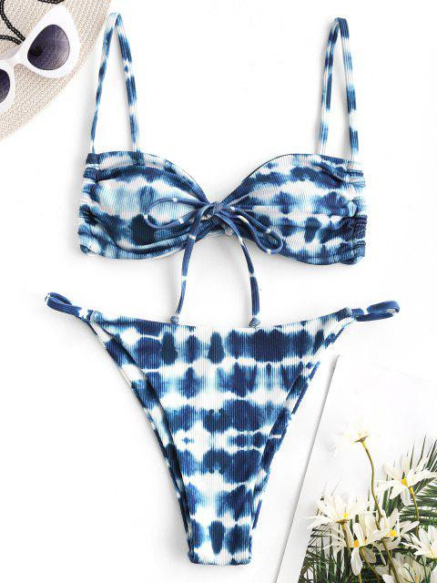ZAFUL Gerippte Krawattenfärbende Tanga Bikini Badebekleidung - Blau S Mobile