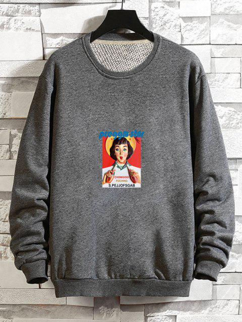 online Photographic Print Rib-knit Trim Pullover Sweatshirt - GRAY L Mobile