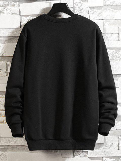 fashion Photographic Print Rib-knit Trim Pullover Sweatshirt - BLACK L Mobile