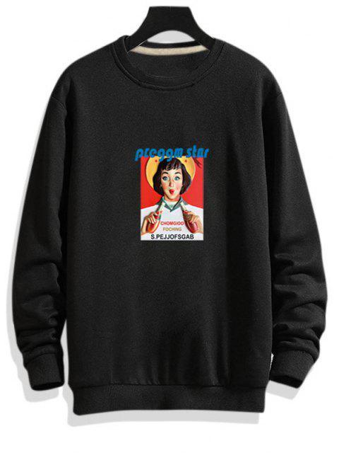best Photographic Print Rib-knit Trim Pullover Sweatshirt - BLACK XS Mobile