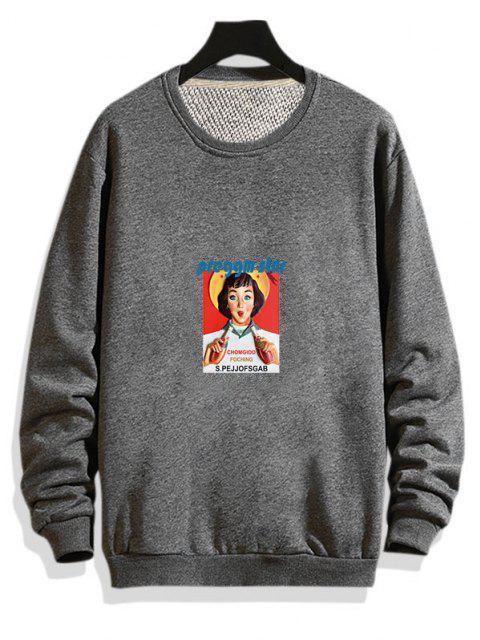 trendy Photographic Print Rib-knit Trim Pullover Sweatshirt - GRAY S Mobile