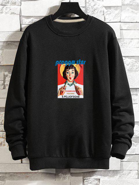 fashion Photographic Print Rib-knit Trim Pullover Sweatshirt - BLACK 2XL Mobile