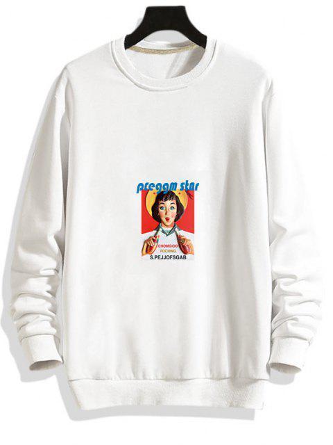 affordable Photographic Print Rib-knit Trim Pullover Sweatshirt - WHITE L Mobile