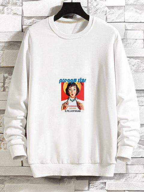 outfit Photographic Print Rib-knit Trim Pullover Sweatshirt - WHITE M Mobile
