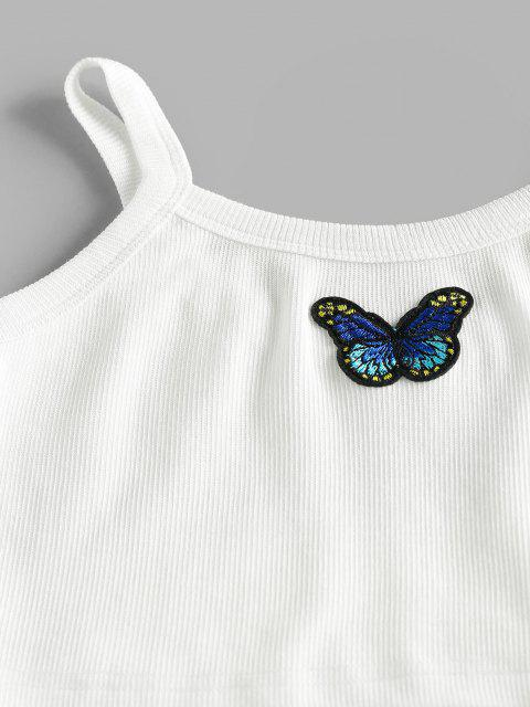 latest ZAFUL Ribbed Butterfly Embroidery Crop Top and Sweatpants Set - WHITE XL Mobile