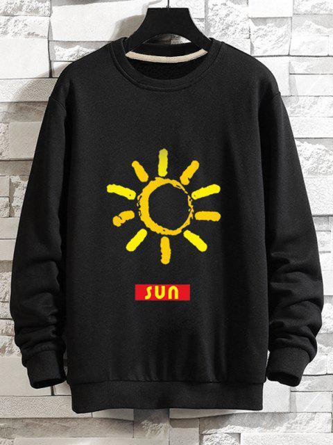 Sweatshirt Décontracté Graphique Soleil à Goutte Epaule - Noir L Mobile