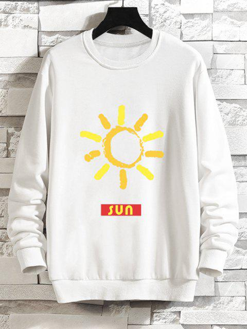 affordable Sun Graphic Drop Shoulder Casual Sweatshirt - WHITE M Mobile