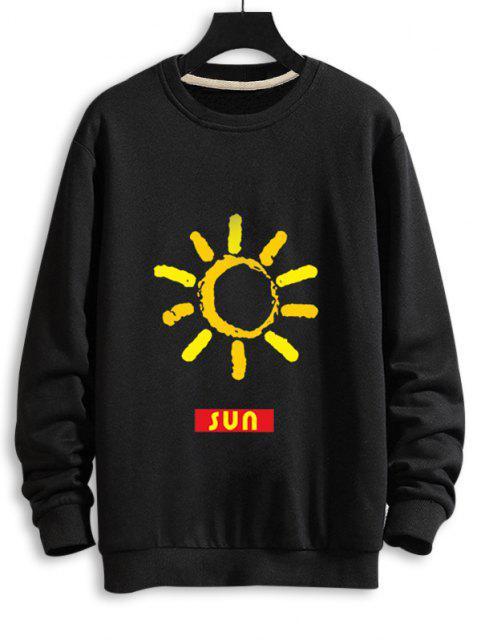 Sweatshirt Décontracté Graphique Soleil à Goutte Epaule - Noir M Mobile