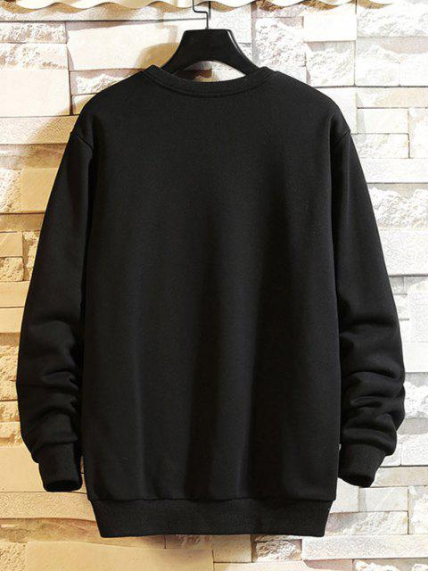 latest Full Battery Graphic Drop Shoulder Casual Sweatshirt - BLACK L Mobile