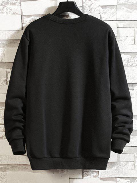 best Rib-knit Trim Letter Print Slogan Sweatshirt - BLACK 2XL Mobile