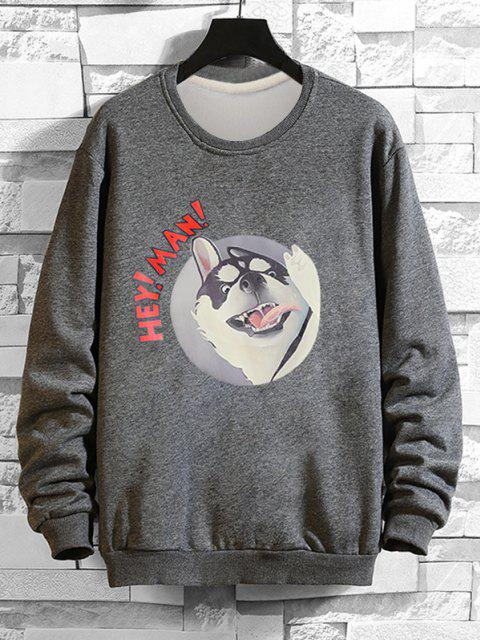 Cartoon Hundedruck Rippen Strick Trimm Sweatshirt - Grau 2XL Mobile