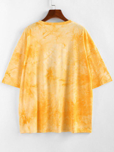 fancy ZAFUL Sunflower Slogan Tie Dye Drop Shoulder T-shirt - YELLOW S Mobile