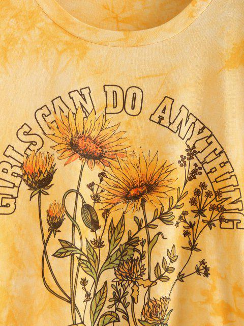 unique ZAFUL Sunflower Slogan Tie Dye Drop Shoulder T-shirt - YELLOW M Mobile