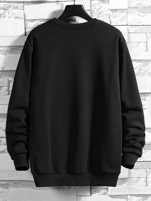 outfits Halloween Skull Print Rib-knit Trim Sweatshirt - BLACK L Mobile