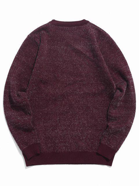 buy Fuzzy Crew Neck Graphic Sweater - RED WINE S Mobile