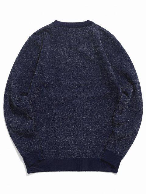 women's Fuzzy Crew Neck Graphic Sweater - CADETBLUE S Mobile