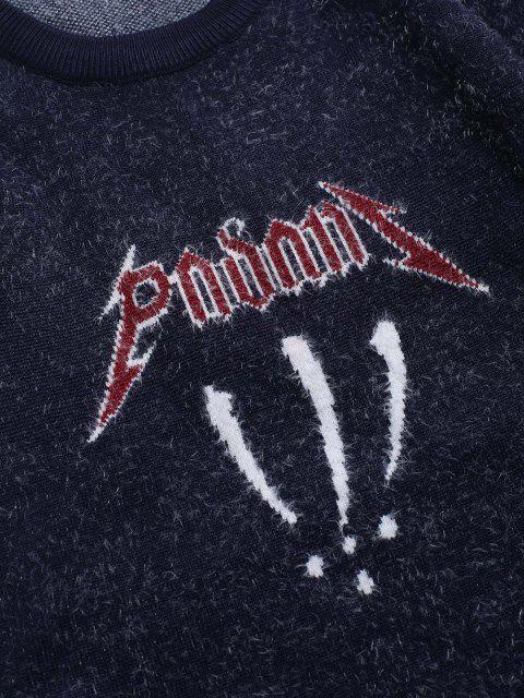 Fuzzy Jersey de Cuello Redondo Gráfico - Cadetblue M Mobile